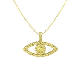 Round Yellow Sapphire 14K Yellow Gold Pendant with Yellow Sapphire