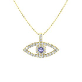 Round Tanzanite 14K Yellow Gold Necklace with Diamond