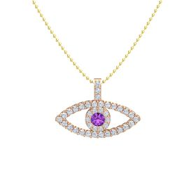 Round Amethyst 18K Rose Gold Pendant with Diamond