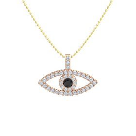 Round Black Diamond 18K Rose Gold Pendant with Diamond