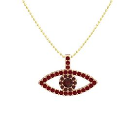 Round Red Garnet 18K Rose Gold Necklace with Red Garnet & Ruby