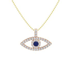 Round Blue Sapphire 18K Rose Gold Pendant with Diamond