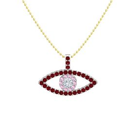 Round Diamond 18K White Gold Pendant with Pink Sapphire and Ruby