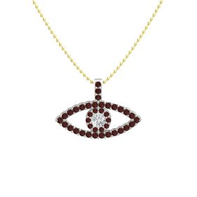 Round White Sapphire Platinum Pendant with Red Garnet