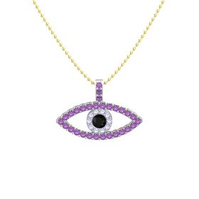 Round Black Onyx Platinum Pendant with Tanzanite and Amethyst