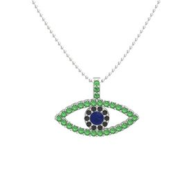 Round Sapphire Platinum Necklace with Black Diamond & Emerald