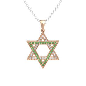 14K Rose Gold Pendant with Diamond and Emerald
