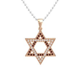 14K Rose Gold Pendant with Red Garnet and White Sapphire