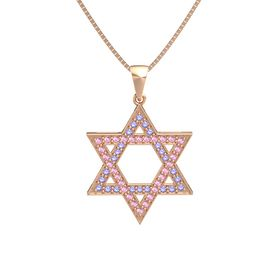 14K Rose Gold Pendant with Iolite and Pink Sapphire