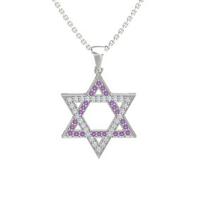 14K White Gold Necklace with Amethyst & Diamond