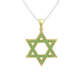 14K Yellow Gold Pendant with Emerald