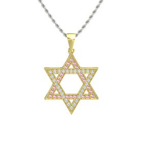 14K Yellow Gold Necklace with Pink Sapphire & Diamond