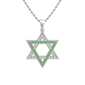 Platinum Pendant with Diamond and Emerald