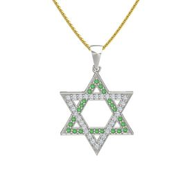 Platinum Pendant with Emerald and Diamond