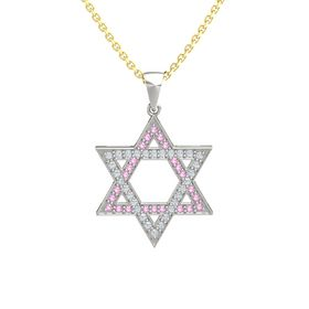 Platinum Pendant with Pink Tourmaline and Diamond
