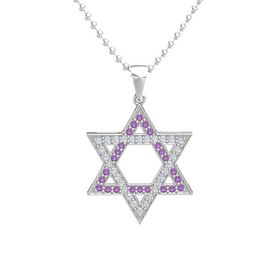 Sterling Silver Necklace with Amethyst & Diamond