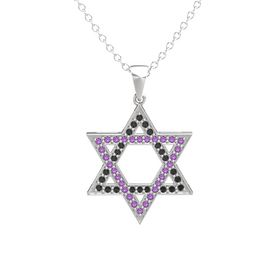 Sterling Silver Pendant with Black Diamond and Amethyst