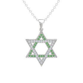 Sterling Silver Pendant with Emerald and Diamond