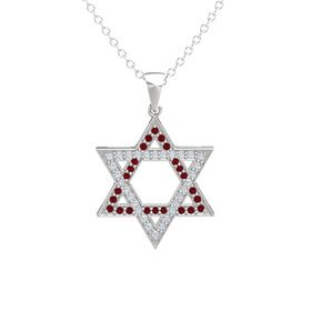 Sterling Silver Necklace with Ruby & Diamond