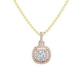Cushion Diamond 14K Rose Gold Pendant with Diamond