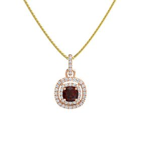 Cushion Red Garnet 14K Rose Gold Pendant with Diamond