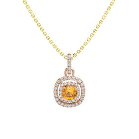Cushion Citrine 14K Rose Gold Necklace with Diamond