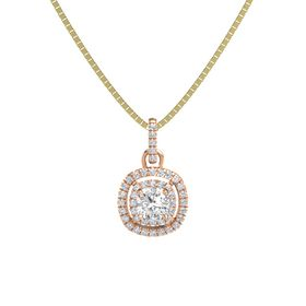 Cushion White Sapphire 14K Rose Gold Pendant with Diamond