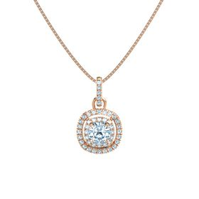 Cushion Aquamarine 14K Rose Gold Necklace with Aquamarine