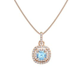Cushion Blue Topaz 14K Rose Gold Pendant with Diamond