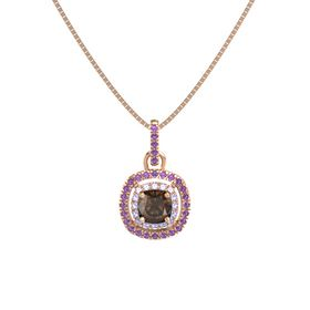 Cushion Smoky Quartz 14K Rose Gold Pendant with Tanzanite and Amethyst