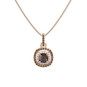 Cushion Smoky Quartz 14K Rose Gold Pendant with Tanzanite and Smoky Quartz