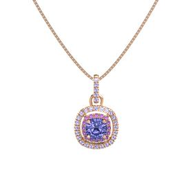 Cushion Tanzanite 14K Rose Gold Pendant with Amethyst and Tanzanite