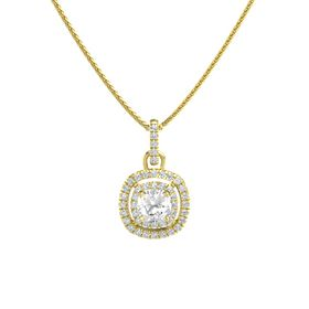 Cushion Rock Crystal 14K Yellow Gold Pendant with Diamond