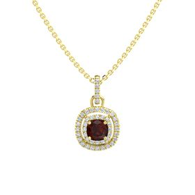 Cushion Red Garnet 14K Yellow Gold Pendant with Diamond