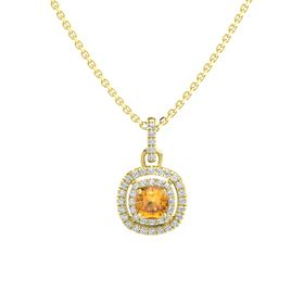 Cushion Citrine 14K Yellow Gold Necklace with Diamond