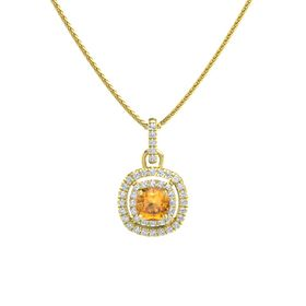 Cushion Citrine 14K Yellow Gold Pendant with Diamond