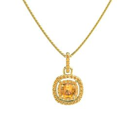 Cushion Citrine 14K Yellow Gold Necklace with Citrine