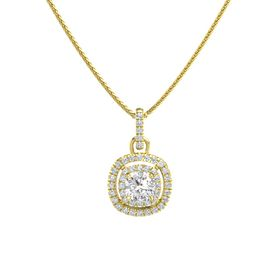 Cushion White Sapphire 14K Yellow Gold Pendant with Diamond