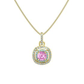 Cushion Pink Sapphire 14K Yellow Gold Pendant with London Blue Topaz and Blue Topaz