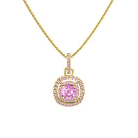 Cushion Pink Sapphire 14K Yellow Gold Pendant with Pink Sapphire