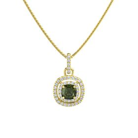 Cushion Green Tourmaline 14K Yellow Gold Necklace with Diamond