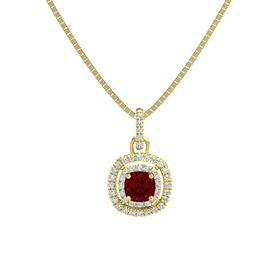 Cushion Ruby 14K Yellow Gold Pendant with Diamond