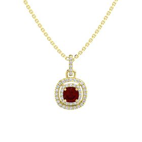 Cushion Ruby 14K Yellow Gold Necklace with Diamond