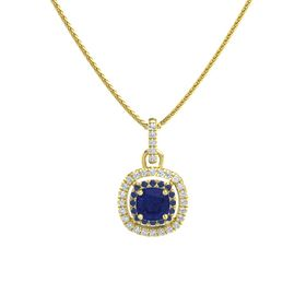 Cushion Sapphire 14K Yellow Gold Necklace with Sapphire & Diamond
