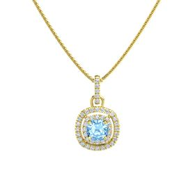 Cushion Blue Topaz 14K Yellow Gold Pendant with Diamond