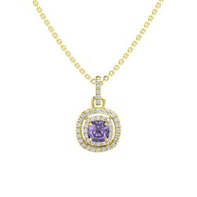 Cushion Iolite 14K Yellow Gold Necklace with Diamond