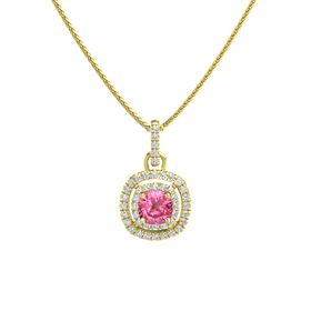 Cushion Pink Tourmaline 14K Yellow Gold Pendant with Diamond