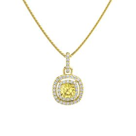 Cushion Yellow Sapphire 14K Yellow Gold Pendant with Diamond