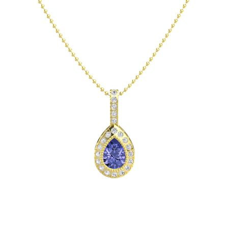 Pear tanzanite 14k yellow gold necklace with white sapphire pear pear cut halo pendant mozeypictures Choice Image