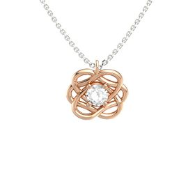 Round Rock Crystal 14K Rose Gold Pendant
